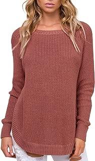 Simplee Women's Crew Neck Raglan Sleeve Knitted Pullover Sweater Side Split