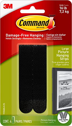 Command Picture Hanging Strips, Large, Black, 4-Pairs (17206BLK-ES)