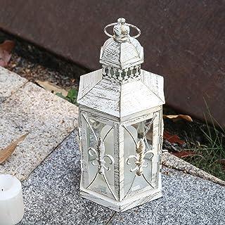Lewondr Decorative Candle Lantern, 10.2 Inch Shabby Chic Style Lantern with Fleur De LYS Patterns Classic French Style Dec...
