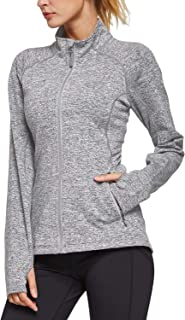 BALEAF Women's Fleece Bodyfit Full-Zip Pocketed Collared Long Sleeved Running & Track Jacket with Thumb Holes