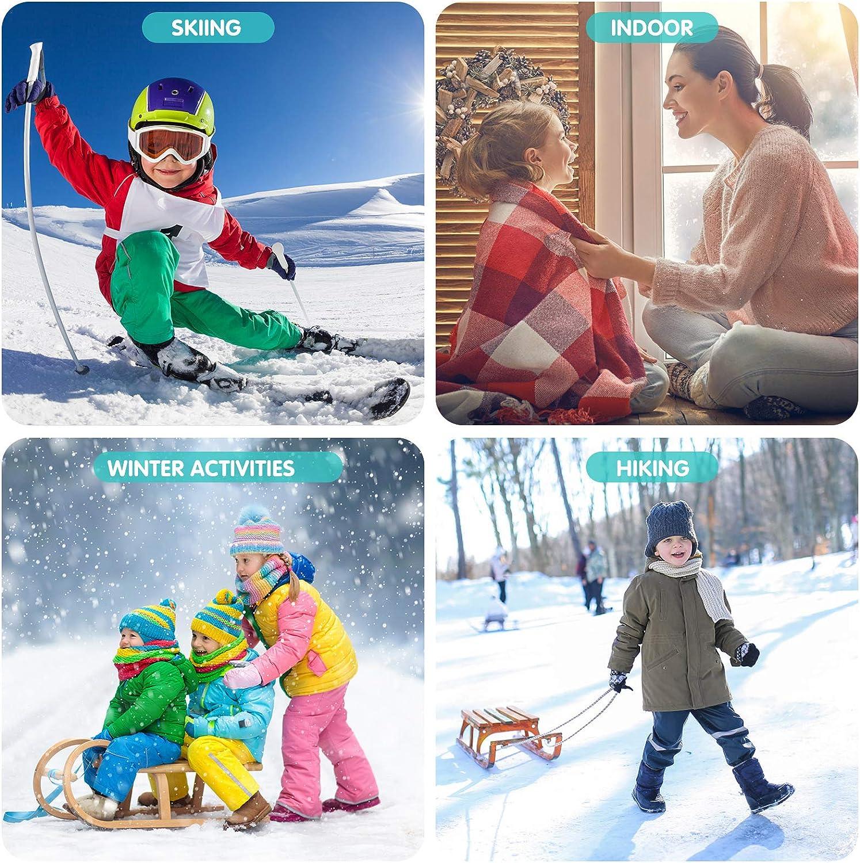 Kids Ski Socks, 2 Pair Warm Long Knee High Snow Winter Skiing Snowboarding Skating Socks for Youth Boy Girl