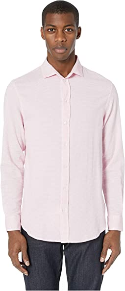 Soft Textured Seersucker Long Sleeve Sport Shirt