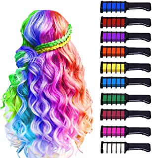 10 Color Hair Chalk for Girls Kids, Temporary Bright Hair Color Chalk Comb Set for Girls 4 5 6 7 8 9 10 Year Old Birthday Gifts Children's Day Halloween Christmas Makeup Cosplay DIY Party Favors