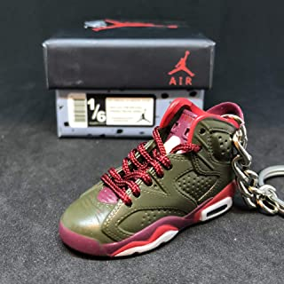 Air jordan VI 6 Retro Cigar Champagne Championship Pack Sneakers Shoes 3D Keychain 1:6 Figure + Shoe Box