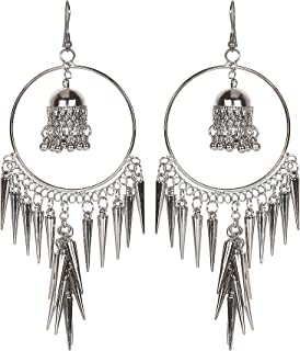 Frolics India Oxidised Silver Jhumki Studed With Spike Fish Hook Earrings For Women & Girls