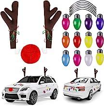 URATOT Christmas Car Decoration Set Christmas Car Reindeer Antlers Kit Christmas Light Bulb Magnets Car Accessories Decora...