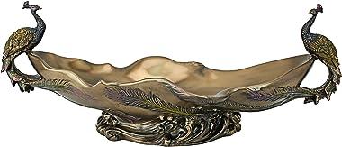 Design Toscano WU10476  Peacock's Decorative Centerpiece Sculptural Bowl, 17 Inch, Polyresin, Bronze Finish