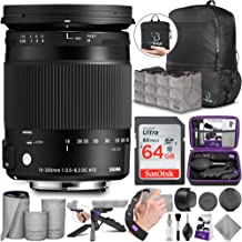 Sigma 18-300mm F3.5-6.3 Contemporary DC Macro OS HSM Lens for Canon DSLR Cameras with Altura Photo Advanced Accessory and Travel Bundle