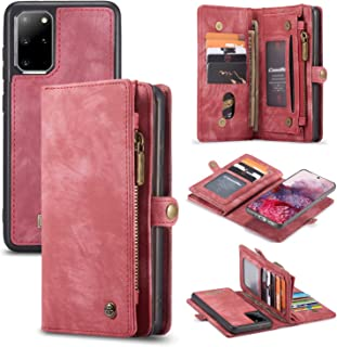 AKHVRS Galaxy S20+ Plus Wallet Case, Handmade Premium Cowhide Leather Wallet Case,Zipper Wallet Case [Magnetic Closure] Detachable Magnetic Case & Card Slots for Samsung Galaxy S20+ Plus - Red