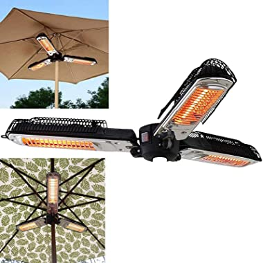 NIUXIAO Electric Patio Umbrella Heater, Folding Outdoor Electric Infrared Space Heater with 3 Heating Panels for Pergola Or G