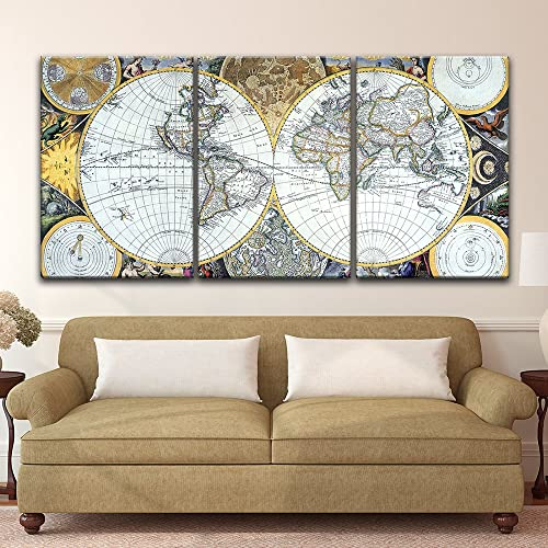 Amazon.com: wall26 - 3 Panel Canvas Wall Art - Vintage World ...