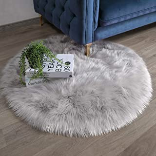 Ashler Ultra Soft Fluffy Area Rug Faux Fur Sheepskin Carpet Chair Couch Cover for Bedroom Floor Sofa Living Room, Grey Round 3 x 3 Feet