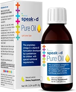 Lifetrients – Speak+D Pure Oil – Natural Lemon – 3.04 oz – Pediatrician Formulated to Support Children with Special Nutritional Requirements – Enhanced with Omega-3, Vitamin E, Vitamin D & Vitamin K