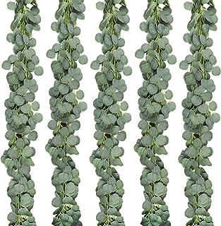 JPSOR 5 Pack Artificial Eucalyptus Garland Greenery Eucalyptus Vines Faux Silver Dollar Eucalyptus Strands for Wedding Par...