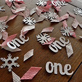 Winter Onederland Party Decorations. 2 Packs. Baby Pink, White and Silver Party Decorations.