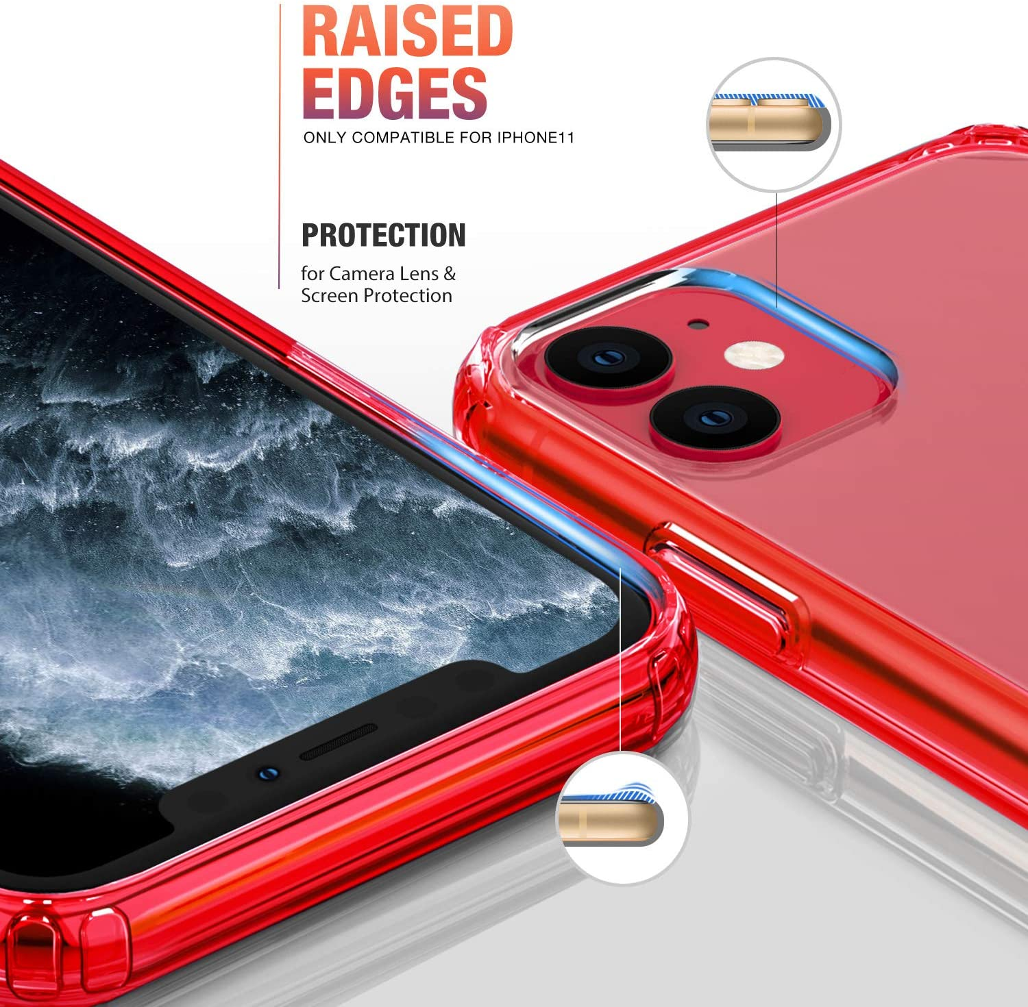 Mkeke Compatible with iPhone 11 Case, Clear Cover for 6.1 Inch Red
