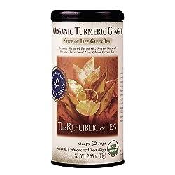 The Republic of Tea Organic Turmeric Ginger Green Tea, 50 Tea Bags, Gourmet Green Tea And Turmeric T