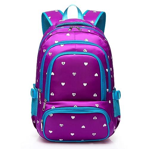 8011cab65ac7 Hearts Print School Backpacks For Girls Kids Elementary School Bags Bookbag