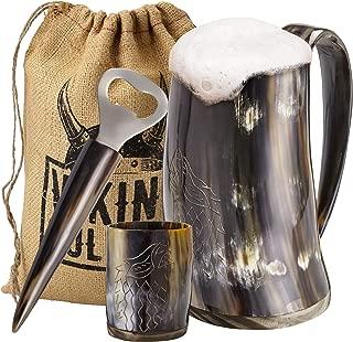 Viking Culture Ox Horn Mug, Shot Glass, and Bottle Opener (3 Pc. Set) Authentic 16-oz...
