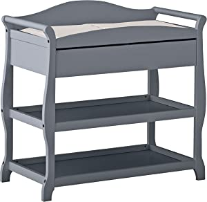 Storkcraft Aspen Changing Table with Drawer Gray Sleigh Design Changing Table with Changing Pad and Safety Strap Oversized Drawer and Two Storage Shelves