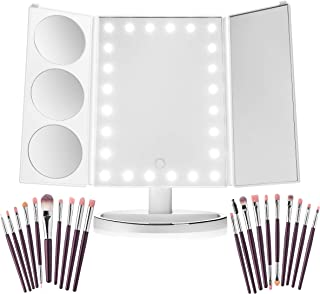 LED Lighted Vanity Makeup Mirror-Trifold Magnifying Mirror-1X 3X 5X 10X Magnification-24 LED Lights-FREE BONUS GIFT 20 Piece Eye Make up Brushes-Touch Screen Adjustable Dimming Portable Design-White