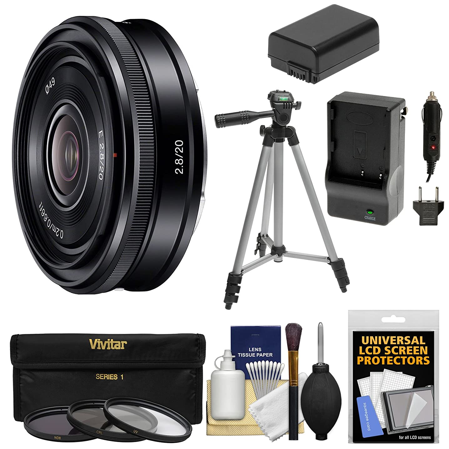 Sony Alpha E-Mount 20mm f/2.8 Wide-Angle Pancake Lens + 3 Filters + Tripod + NP-FW50 Battery/Charger Kit for A7, A7R, A7S Mark II, A5100, A6000, A6300