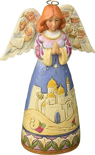 Enesco Jim Shore Heartwood Creek Angel W Nativity Sculptedwings W Multicolor