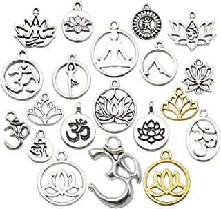 WOCRAFT 100g(80pcs) Craft Supplies Antique Silver Yoga OM Lotus Flower Charms for Jewelry Making Crafting Findings Accesso...