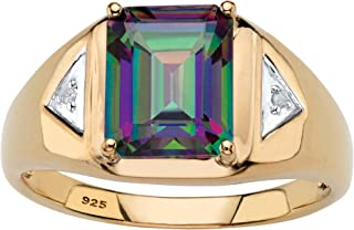 Men's 18K Yellow Gold over Sterling Silver Emerald Cut Genuine Mystic Fire Topaz and Diamond Accent Ring