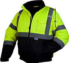 Pyramex Safety Bomber Jacket with Quilted Lining, Hi-Vis Lime, 4X-Large