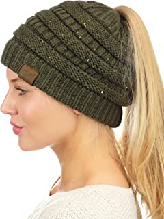 b5da416e7ac0 C.C BeanieTail Sparkly Sequin Cable Knit Messy High Bun Ponytail Beanie Hat