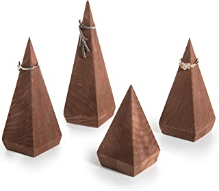 MyGift Pyramid-Shaped Brown Wood Ring Holders, Set of 4