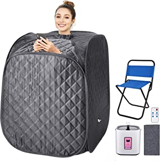 Portable Steam Sauna Spa, 2L Personal Therapeutic Sauna for Weight Loss Detox Relaxation at Home,One Person Sauna with Remote Control,Foldable Chair,Timer(US Plug) (Grey_Cube)