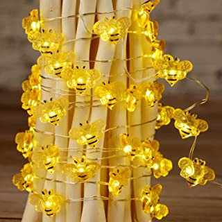 Impress Life Honey Bee Fairy String Lights, 10 Foot 40 LED, USB & Battery Operated 8 Modes with Remote Control for Wedding...
