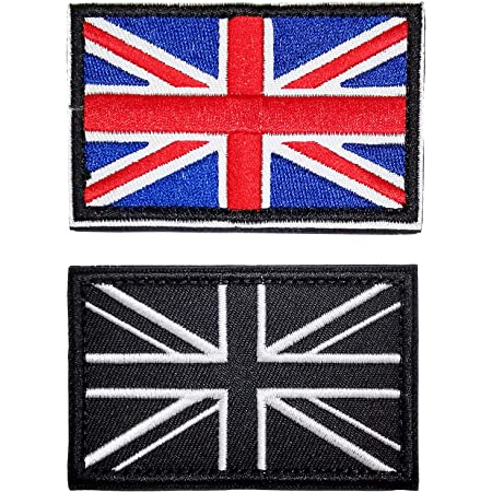 2 Pcs British Union Jack Embroidered Flag Emblem UK Great Britain Applique Patch Tactical England Flag Badge Fastener Hook and Loop Patch Sew On Patches for Uniform Clothing Jacket Shirt