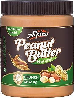 Alpino Natural Peanut Butter Crunch 1 KG (Unsweetened / Gluten Free / Non-GMO / Vegan)