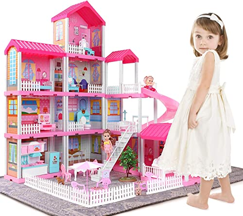 high quality TEMI Dollhouse Dream House Toys for 3 4 5 6 7year Old Girls Building Toys Figure, Toddlers Playhouse Accessories and Furniture, DIY Cottage Pretend Play lowest Doll discount House, Educational Learning Birthday Gift online