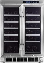 EdgeStar 36 Bottle Built-In Dual Zone French Door Wine Cooler - Black/Stainless Steel