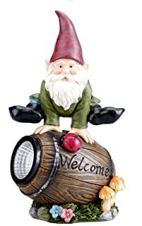 Bo-Toys Solar Powered Gnome Jumping Over a Barrel with Ladybug LED Garden Light Decor