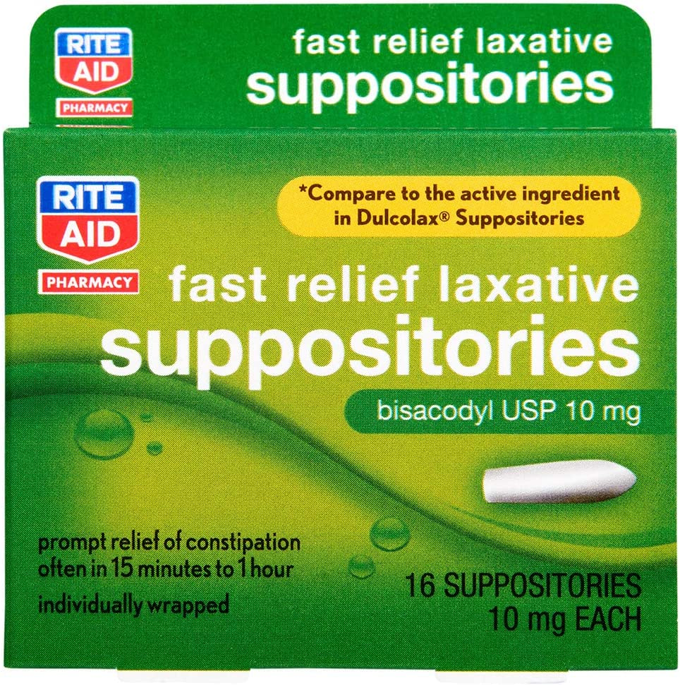 Selling and selling Rite Aid Fast Relief Laxative High quality new Suppositories USP 10mg Bisacodyl