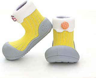 Attipas Best First Walker Shoes Baby Cotton Socks Shoes Non Toxic Safe Great Baby Registry Gifts (US Toddler 4.5, Lollipop...