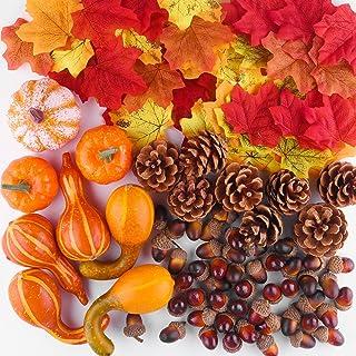 FFEPITO 96 Pcs Fall Thanksgiving Decorations, Mini Artificial Pumpkins, Pine Cones, Fall Leaves, Acorns for Fall Party Dec...
