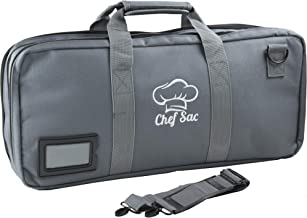 Chef Knife Case Bag   3 Large Compartments For Knives and Tools   5 Front Pockets for Small Kitchenware   Great Gift for Executive Chefs & Culinary Students (Grey)