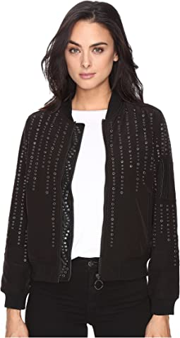 Eyelet Studded Bomber Jacket in Eyelet You
