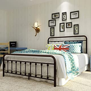 2020 Teruel Classic New Metal Bed Frame Queen Size,Platform with Vintage Headboard and Footboard,Sturdy Metal Frame Premium Steel Slat Support,Suitable for All Decorative Styles Bedroom or Guest Room