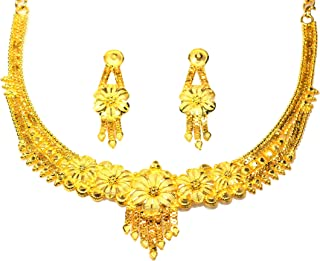 Frolics India Designer Micro Gold Plated Golden Choker Necklace Set with Earrings for Women & Girls