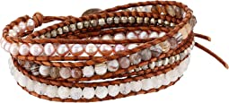 Chan Luu - Sterling Silver 5 Wrap Bracelet on Leather with Nuggets, Semi Precious Stones and Fresh Water Pearls