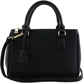 Classic Triple Zip Top Handle Mini Satchel Bag with Shoulder Strap