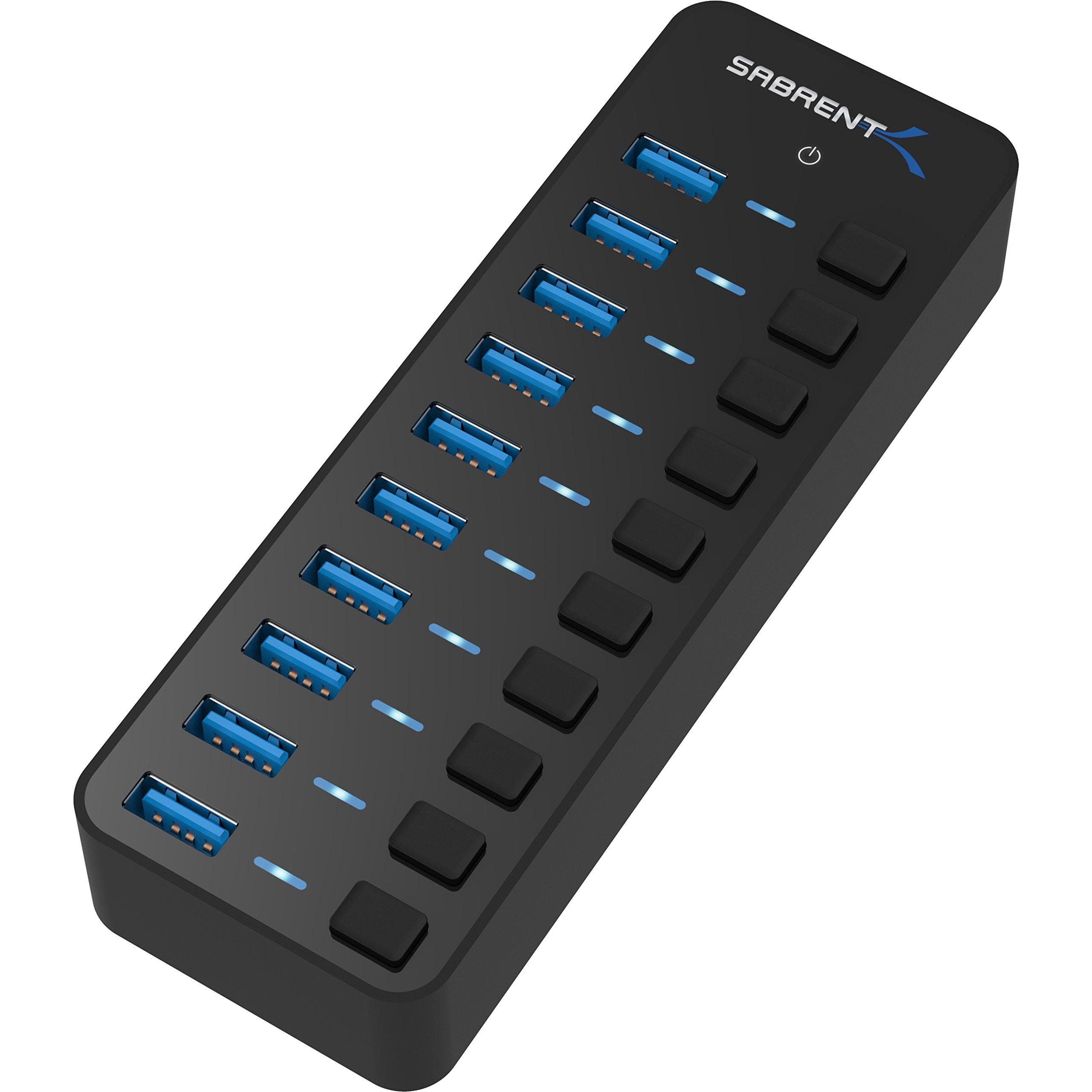 Sabrent 10 Port Individual Switches HB BU10