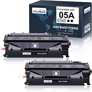 OfficeWorld Compatible Toner Cartridge Replacement for HP 05A CE505A (Black, 2-Packs), Work with Laserjet P2035 P2055dn P2...
